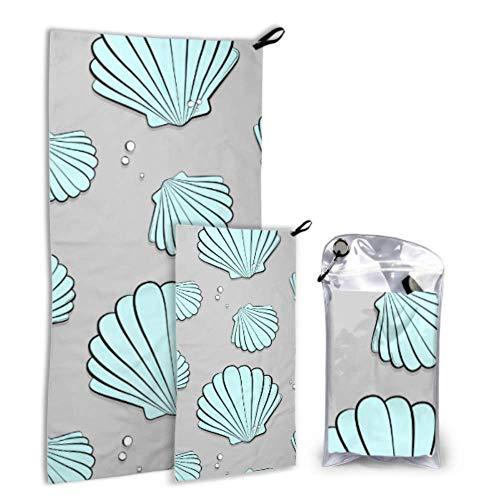 N\A Sea Marine Seashell Cartoon 2 Pack Microfiber Soft Towel Girl Towel Beach Set Fast Drying Best for Gym Travel Backpacking Yoga Fitnes