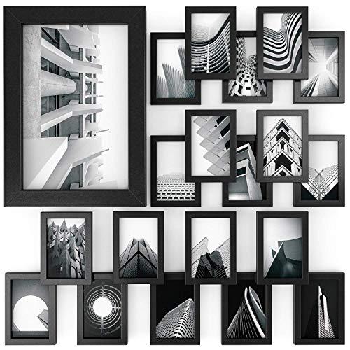 Arteza Bilderrahmen Set 10x15 cm, 20er-Pack Holzbilderrahmen in Schwarz mit Glasscheibe im Hoch- und Querformat, Fotorahmen für Wand und zum Aufstellen