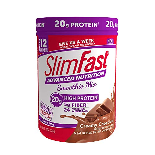 SlimFast Advanced Nutrition Creamy Chocolate Smoothie Mix – Weight Loss Meal Replacement – 20g of protein – 11.4 oz. Canister – 12 servings - Pantry Friendly