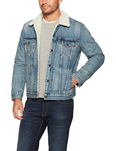 Levi's Men's Type III Sherpa Jacket, Mustard Blue Denim, L