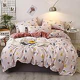 HenLooo 4-teiliges Bettbezug-Set, komplettes Bettwäscheset mit 1 Bettbezug sowie 2 Kissenbezügen und 1 Bettlaken, Antifouling,5,Double