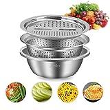 Jeslon - Cortador de verduras de acero inoxidable de 10 pulgadas, 3 en 1 cocina multiusos juliana rallador – Ensalada