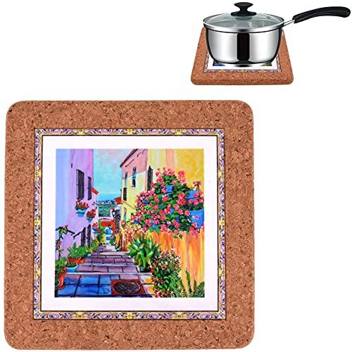 CORKCHO Sottopentola in ceramica , Sottopentola in sughero, Sottopentola da cucina 19x19x1.5cm, per posare pentole, padelle, design di piastrelle di Siviglia per cucina, sala da pranzo, Design 5