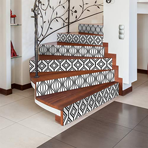 6 Stickers adhésifs escalier carrelages | Sticker Autocollant contremarche Carreaux de Ciment – Stickers contremarche carrelages - azulejos – 15 x 105 cm - 6 Bandes
