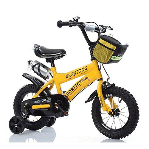 Bicyclehx Kinder Fahrrad Jungen Mädchen Fahrräder 2-11 Jahre Baby Carrier Studenten Safe Sicheres Kind Fahrrad mit Leinwand Korb Wasserkocher In 12/14/16/18 Zoll (Color : Yellow, Größe : 12 inch)