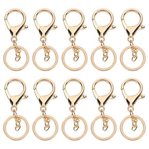10pcs bolsa colgante llavero, llavero, manualidades retro de bricolaje para pulseras, llave de joyería(Golden)