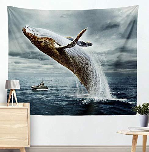 Océan Animaux Série Natation Dauphin Baleine Motif Tenture Polyester Tapisserie Méduse Décor À La Maison Art 200X150Cm