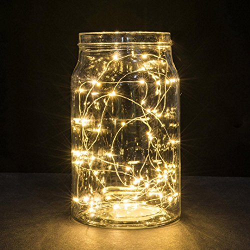 sunnymi 1m String Fairy luz 10led Batería Alimentado por pera Distressed Agua Densidad Exterior Jardín Camping Bombilla LED Navidad Luces Fiesta Boda Lámpara, Cobre, Blanco Cálido, Kabellänge: 1M