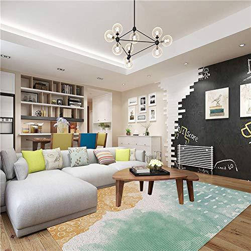 Vlejoy Tapis Design Moderne Tapis Salon Table Basse Chambre à Coucher Chevet Vert Encre-80x160cm