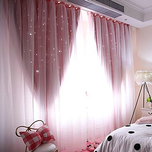 Wingbind Sheer und Blackout Vorhänge Set, Laser aushöhlen Sterne Gemustert, Prinzessin Stil Vorhang für Zuhause, Wohnzimmer, Schlafzimmer, Kinderzimmer, Balkon, Hotel Dekoration 100 * 200cm