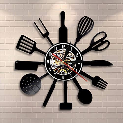 CVG Vintage Kitchen Cubiertos Vinyl Record Wall Art Cuchara Tenedor Cuchillo Cocina Reloj de Pared Vajilla Reloj Decorativo Foodie Regalo Idea