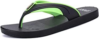 Men's Fashion Slippers Casual Simple Light Classic Color Collocation Beach Flip-Flops Shoes (Color : Black Green, Size : 7 UK)