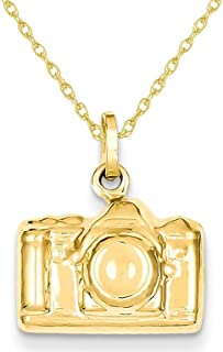 Polished Camera Charm Pendant Necklace in 14K Yellow Gold with Chain
