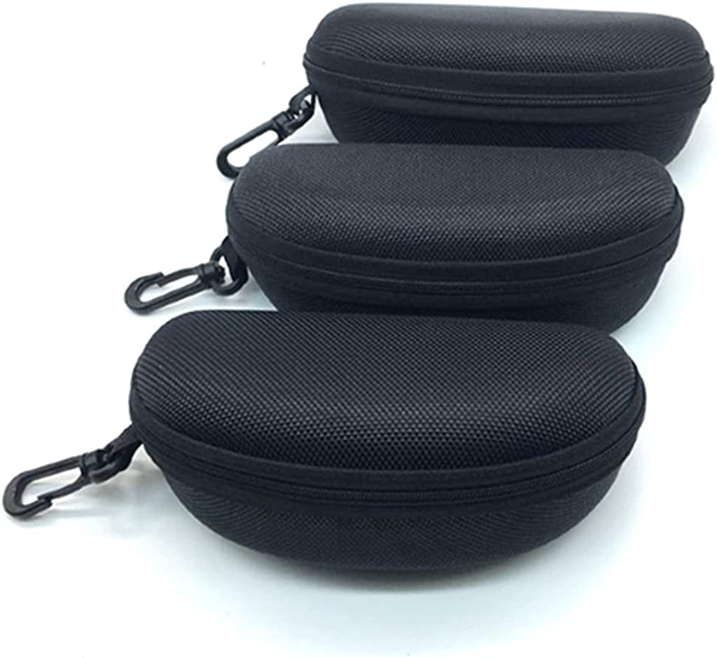 VimcustomPr 3 Pcs Portable Sunglasses Soft Case Zipper Eyeglass Case Protective Holder With Belt Clip Fit for Safety Glasses Safety Goggles 3D Glasses and Reading Glasses