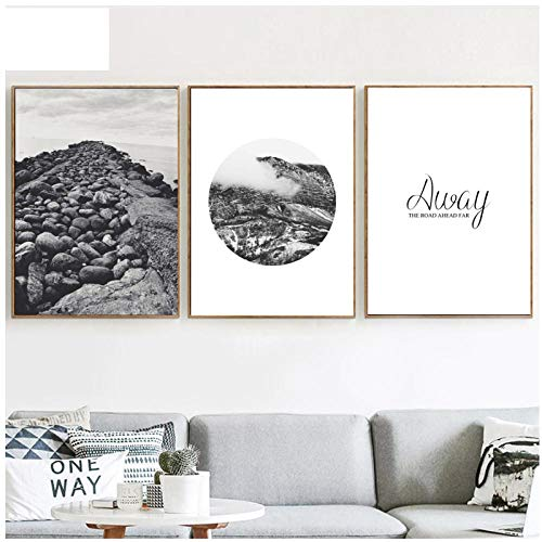 Caomei Snow Mountain Stone Embankment Inspirational Quotes, 3-delig, canvas, schilderij Nordic Prints for Living Room Decor - 50 cm x 70 cm x 3 cm (zonder lijst)