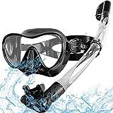 Keystand Snorkel Mask, Foldable Snorkel Set Snorkeling Gear, Detachable Free Breathing Snorkeling Packages, Anti Leak Tempered Glass, Scuba Mask Snorkel Gear for Adults Youth Kids