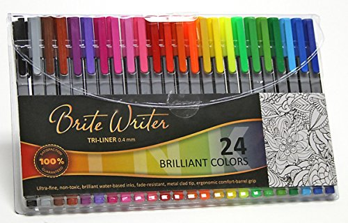 Premium Ultra Fine Markers, Brite Writer Tri-Liner 0.4 mm, 24-Pack, Fineliner, Ultra-fine pens, non-toxic, brilliant water-based inks, fade-resistant, metal clad tip, ergonomic comfort-barrel grip