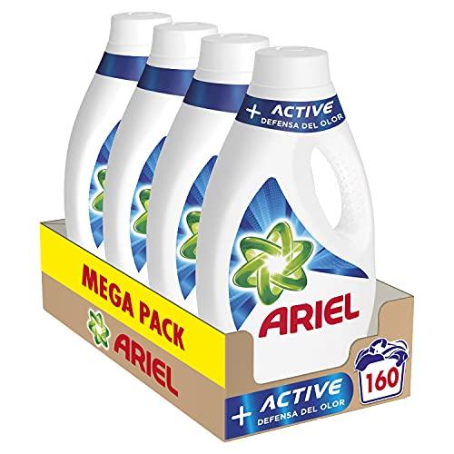 Ariel Detergente Lavadora Líquido, 160 Lavados (Pack 4 x 40), Active Odor Defense