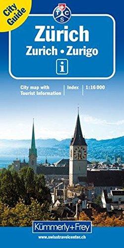 Zürich 1 : 16 000. City map: Stadtplan von Zürich mit: Hauptplan inkl. Flughafen, Liniennetz S-Bahn (SBB), Liniennetz Stadt (VBZ), Straßenverzeichnis, Detailplan Zentrum (Kümmerly+Frey City Maps)