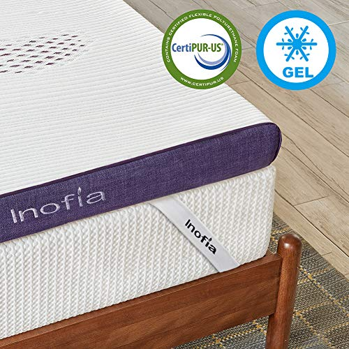 Inofia Gel Topper 90x190 cm Matratzenauflage Memory Foam Topper für Matratzen oder Boxspringbett |2cm RG50 Gelschaum+6cm Lavender Reliefoam|waschbar Bezug|100 Nächte Probeschlafen|10 Jahre Garantie