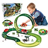 Dino Race Track, 139pcs Dinosaur Tracks Race Toy Set for Kids Boys & Girls, Flexible Track Playset Build an Adventure...