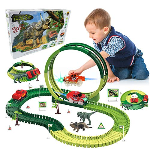 Dino Race Track, 139pcs Dinosaur Tracks Race Toy Set for Kids Boys & Girls, Flexible Track Playset Build an Adventure Race Car, Track 360° Stunt Loop, Age 3 4 5 6 7 8 Year & Up Old