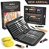 Nicpro Acrylic Paint Kit of 24 Rich Pigment Colors (12ml) Art Supplies Painting Set with 16 Paint Brushes,Paint Knife & Art Sponge for Kid & Adult Painting Canvas, Hobby Crafts