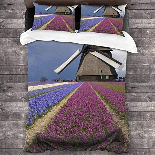 AEMAPE 86'x70' Juego de Cama Microfibra 100% Suave Molino de Viento y Flores Bedding Sábanas Pareja DE Almohadas