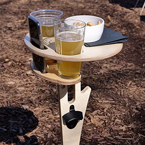 Gpure Mesa de Camping de Madera Pequeña Plegable para Playa y Patio Portátil Jardin Escritorio con Agujero de Botellas de Vino y Mango , Apto para 1-2 Personas Picnic al Aire Libre