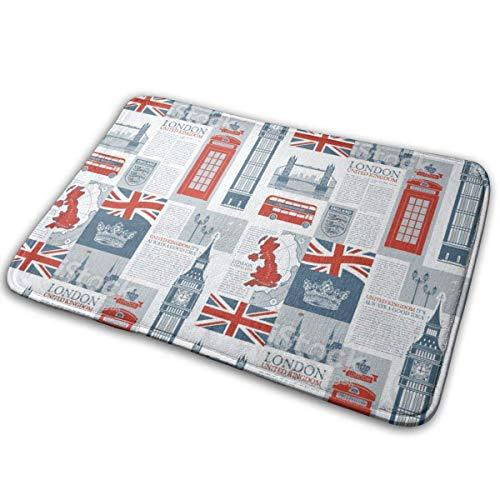 Felpudo de bienvenida antideslizante con diseño de bandera británica de Reino Unido y Londres, fácil de limpiar, 60,96 x 40,64 cm