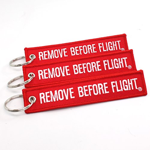 Rotary13B1 Remove Before Flight Key Chain - 3 Pack Red
