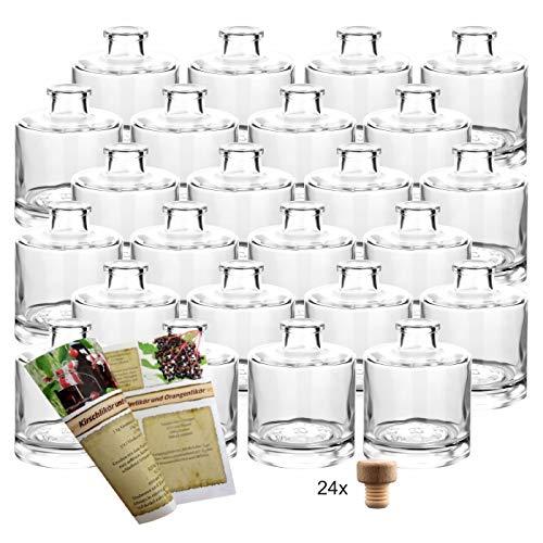 gouveo 24er Set Flasche Tom 200 ml inkl. Holzgriffkorken, Likörflaschen, Schnapsflaschen, Essigflaschen, Ölflaschen