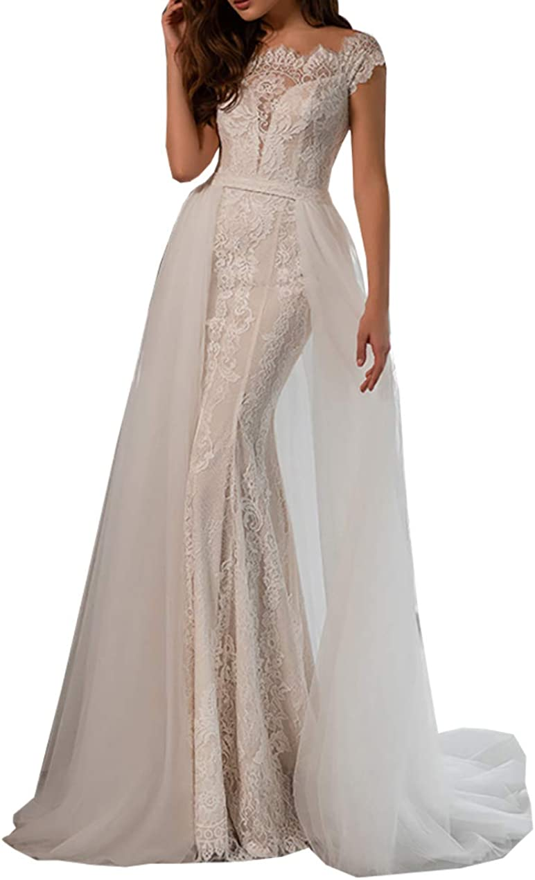 Sweetheart Lace Beach Mermaid Wedding Dresses for Bride with Detachable Train Long Bridal Ball Gown Plus Size