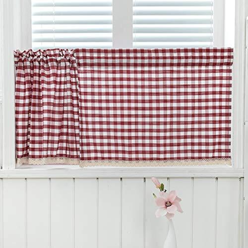 tende soggiorno in pizzo 2 pezzi Tende da cucina in cotone in lino