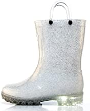 Outee Toddler Girls Kids Light Up Rain Boots Waterproof Shoes Glitter Light Weight Cute Lovely Funny with Easy-on Handles Classic Comfortable (Size 10,Light Up Silver)