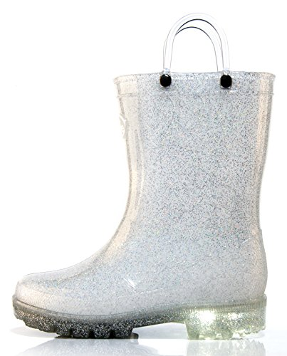 Outee Toddler Kids Girls Light Up Rain Boots Waterproof Shoes Lightweight Glitter Cute Lovely Funny Print with Easy-On Handles Classic Comfortable (Size 11,Light Up Silver)