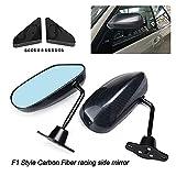 SHOUNAO 2X Coche De Fibra De Carbono Autos Azul Vista Trasera Espejo F1 LOOTE DE Carbono DE CARRERO Espejo Espejo Vidrio Y Soporte De Gran Angular (Color : Carbon Pattern)