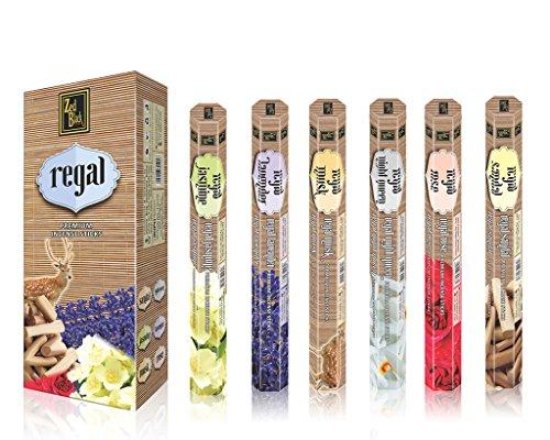 Zed Nero Regal Serie Natural Fragrance Sticks - Lunga Durata Sticks Piacevole incenso - Crea tranquilla Aura Intorno a Te - Premium Bastone di incenso - Confezione da 6-120 Sticks