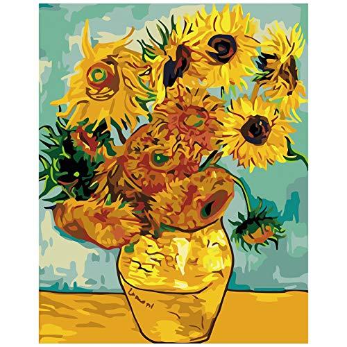 TAHEAT Kits de pintura por números con pinceles y pigmento acrílico para pintar en lienzo para niños, pintura al óleo para pintar con números, girasoles de Van Gogh, 16 x 20 pulgadas (sin marco)