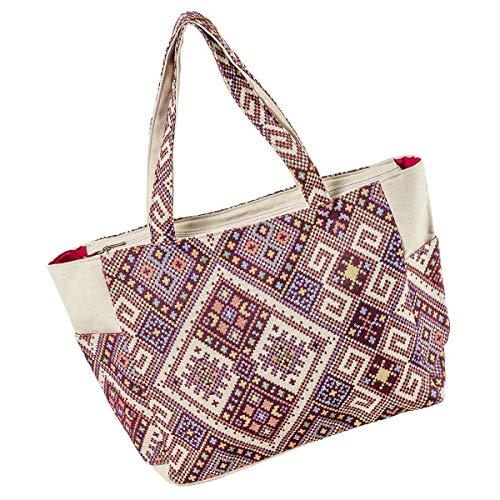 LaFiore24 Einkaufstasche Damen Shopper Ethno Grosse XXL Strandtasche Badetasche Schultertasche Reissverschluss seitliche Taschen Brombeere