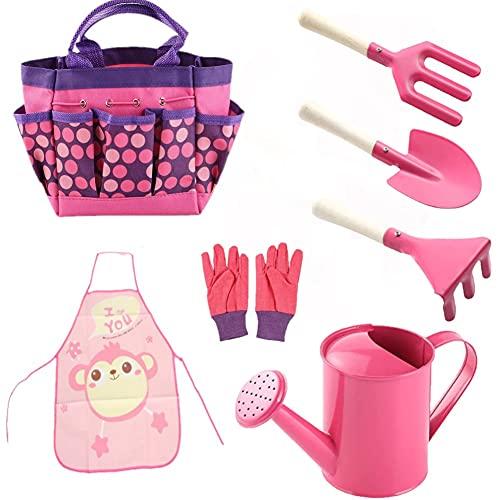 Sinoeem Werkzeugtasche Einfach zu tragen und Foldaway Kinder Gartenarbeit Set Tools langlebig Garten Spielen Spiel Kits komplette Kinder Gartenarbeit kleine Gärtner Gartenarbeit Werkzeug-Sets (Rosa)