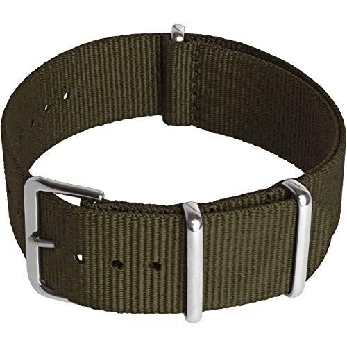 CampTeck U6950 - Nylon Ersatz Uhrenarmband Militär Uhrband (Breite 18|20|22|24mm) mit Verschlussschnalle aus rostfreiem Stahl für Spring Bar Uhren - Olivgrün - 20mm