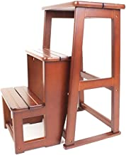 Kitchen Step Stool Ladder- Wooden Steps, Convert Folding Library Ladder Chair Kitchen Steps Stool (Color : A)