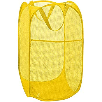 Bud Mesh Pop up Laundry Hamper Foldable Clothes Hamper Laundry Basket for Kids Room Bedroom College Dorm or Travel Yellow