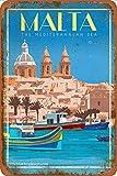 Malta Valletta - Vintage TRAVEL Poster Tin/Metal Style