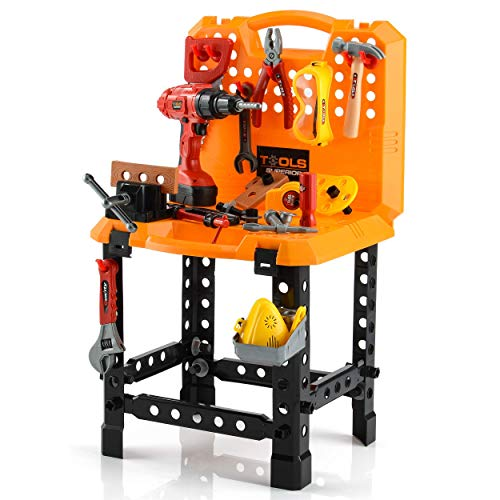 Toy Choi's Pretend Play Series Standard Workbench Toy Tool Play Set, 82 Pieces Construction Work Shop Toy Tool Kit Bench Outdoor Travel Preschool Toy Gift for Kids Toddler Baby Children Boys and Girls