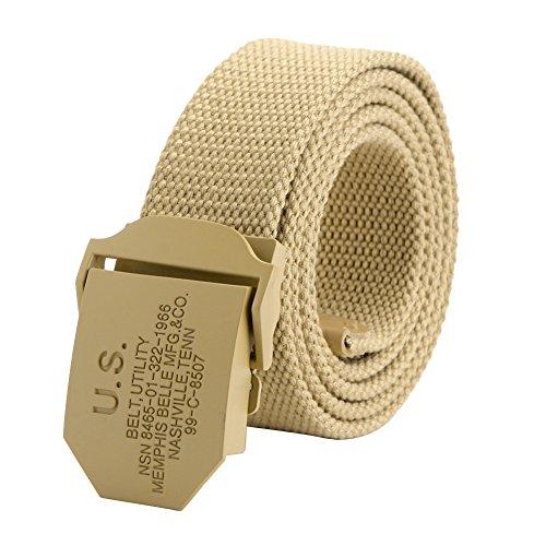 Ayliss® Militär Herren Stoffgürtel Leinwand Canvas Stoff Gürtel Jeansgürtel Belts 125cm (Khaki)