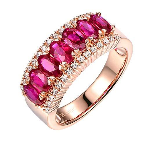 KnSam 750 Gold Rotgold Ring Ring Verlobung Damen Weissgold Goldring Damen 750 Ring Mit 2.15Ct Ruby Und Diamand Rose Gold Rot Echt Gold Ring