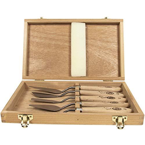 Viva Decor Modellierspachtel Set : 5 unterschiedliche Modelliermesser aus Edelstahl für Acrylfarbe & Modellierpaste. Großes Malmesser Werkzeug Sortiment Ideal für Malerei- & Bastel-Arbeiten
