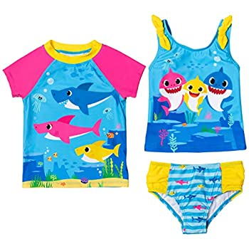 Baby Shark Toddler Girls Swim Rash Guard Tankini Top Bottom Set Blue 4T